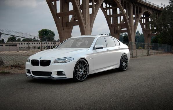 Картинка белый, мост, бмв, BMW, white, F10, 550i