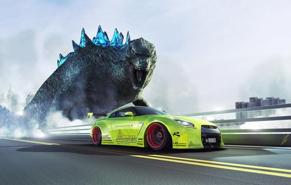 Картинка GTR, Nissan, Green, Speed, Godzilla, R35, Liberty, Walk