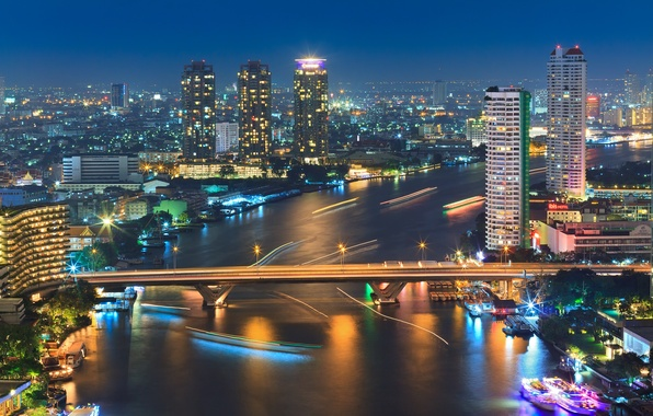 Картинка ночь, мост, город, огни, река, лодки, выдержка, Таиланд, Бангкок, Bangkok, By Noom HH