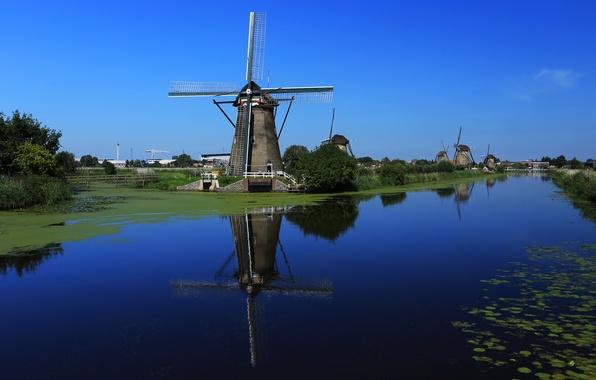 Картинка небо, вода, канал, Нидерланды, ветряная мельница