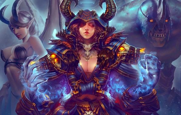 Картинка девушка, магия, крылья, монстр, демон, арт, рога, цепи, наручники, world of warcraft, доспех, haoyuan