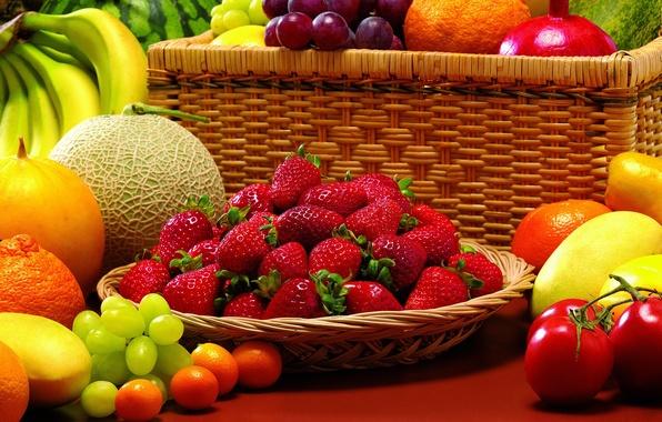 Картинка ягоды, арбуз, клубника, виноград, бананы, фрукты, натюрморт, овощи, помидоры, гранат, дыня, мандарины, кумкваты