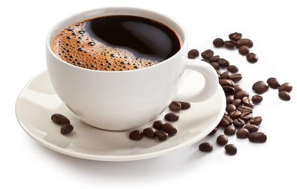 Картинка кофе, чашка, белый фон, блюдце, зёрна