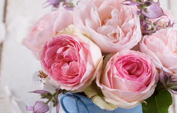 Картинка цветы, розы, букет, pink, flowers, roses