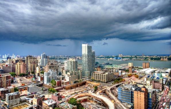 Картинка облака, здания, Нью-Йорк, панорама, Манхэттен, Manhattan, New York City, Hudson River, Адская кухня, река Гудзон, …