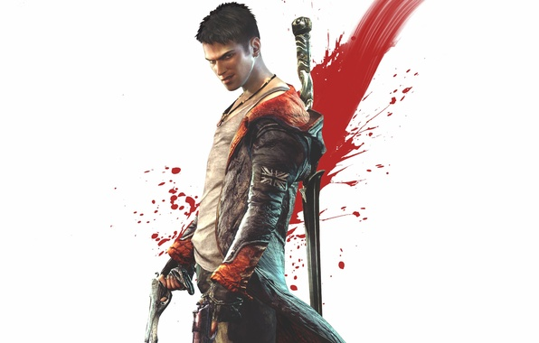 Картинка улыбка, оружие, пистолеты, меч, майка, плащ, ухмылка, Dante, Данте, DmC, Devil May Cry 5