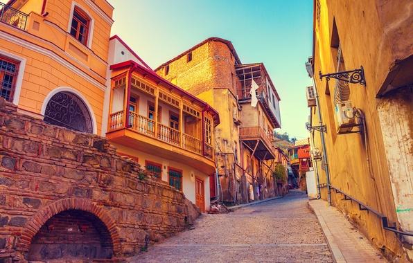 Картинка дома, склон, переулок, Грузия, Тбилиси, Tbilisi