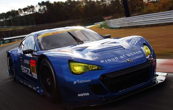 Картинка Синий, Subaru, Машина, Гонка, Движение, Car, Race, Автомобиль, Blue, Субару, Гоночный трек, БРЗ, BRZ, GT300