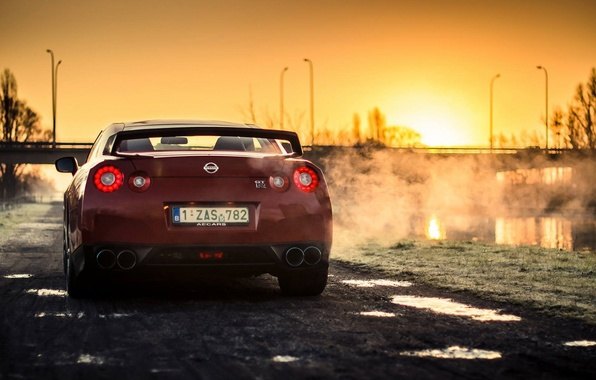Картинка Nissan, Red, GT-R, Car, Sun, Sunset, Back, R35, Sport, Rear