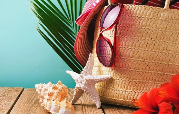 Картинка песок, пляж, лето, шляпа, очки, ракушки, summer, beach, sand, vacation, starfish, accessories, seashells