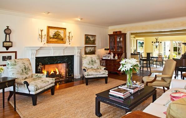 Картинка дом, стол, комната, огонь, обои, вилла, интерьер, картина, кресло, wallpaper, камин, пианино, люкс