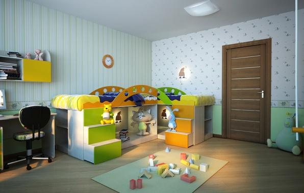 Картинка дизайн, комната, обои, игрушки, кровать, дверь, детская