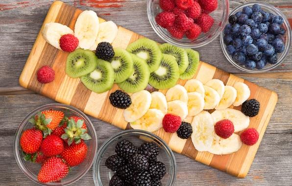 Картинка ягоды, малина, киви, черника, клубника, фрукты, банан, ежевика, banana, fruits, berries, kiwi, blueberries, strawberries, blackberries, …