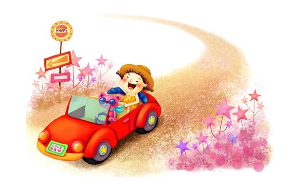 Картинка дорога, машина, детство, фантазия, рисунок, смех, звёзды, указатель, девочка, шляпка, зверёк