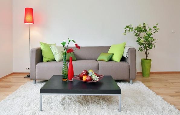 Картинка дизайн, дом, стиль, стол, диван, мебель, растение, интерьер, ковёр, Обои, фрукты, вазы, белый ковёр, белые …