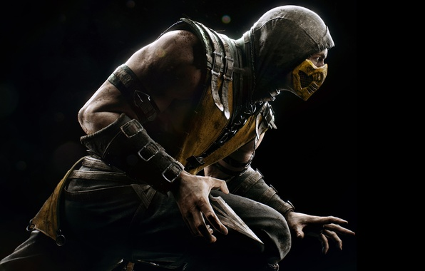 Картинка взгляд, маска, капюшон, боец, Скорпион, ниндзя, стойка, Warner Bros. Interactive Entertainment, NINJA, Scorpio, NetherRealm Studios, …