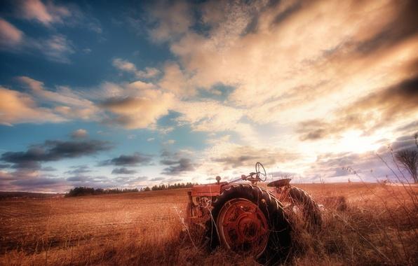 Картинка поле, небо, трактор