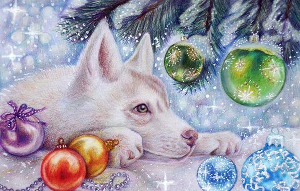 Картинка зима, снег, праздник, игрушки, елка, новый год, волк, арт, волчонок