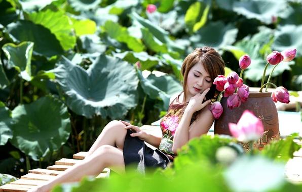 Картинка лето, девушка, цветы, азиатка
