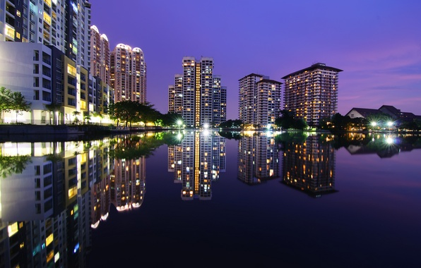 Картинка ночь, дома, небоскребы, высотки, Малайзия, Kuala Lumpur, Blue Hour, Malaysia, Куала-Лумпур, Subang Ria