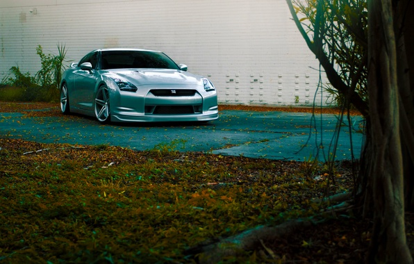 Картинка GTR, Nissan, Front, Color, R35, Vossen, Silver, Wheels, CV5