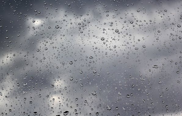 Картинка стекло, вода, капли, тучи, дождь, пасмурно