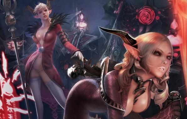 Картинка цветы, девушки, магия, латекс, рога, черепа, посох, демоны, острые уши, Tera online, Castanic