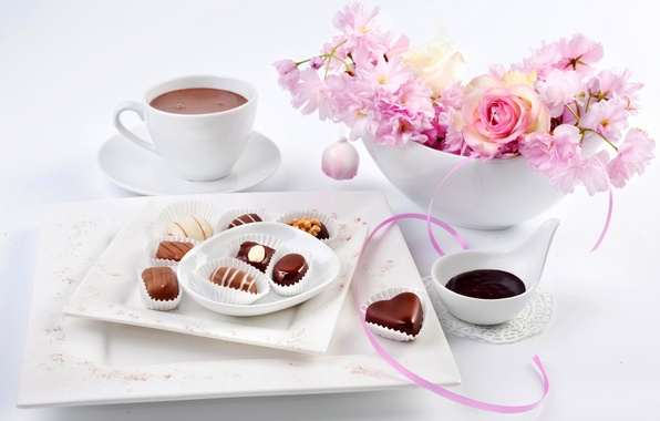 Картинка цветы, праздник, роза, сакура, конфеты, чашка, 8 марта, flowers, sakura, chocolate, какао, candy