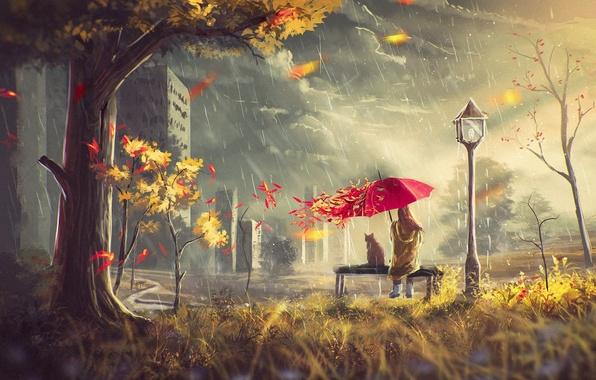Картинка осень, кот, листья, девушка, тучи, дом, дождь, дерево, ветер, улица, зонт