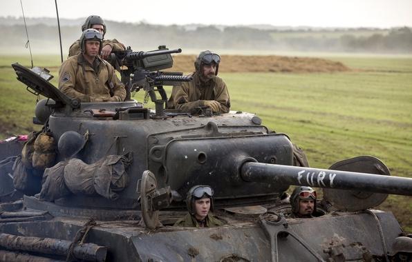 Обои поле, танк, Брэд Питт, Brad Pitt, драма, экипаж, M4 ... брэд пит фильм танк