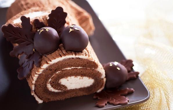 Фото обои шоколад, пирожное, cake, крем, выпечка, сладкое, chocolate, sweet, бисквит, рулет, roll, biscuit, baking