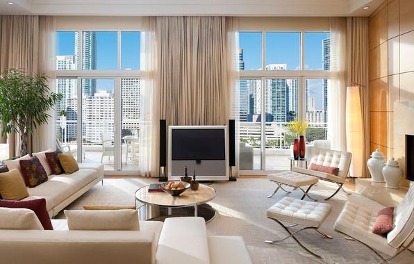 Картинка белый, дизайн, город, стиль, комната, диван, вид, окна, интерьер, светлый, подушки, телевизор, кресла, столик, гостиная
