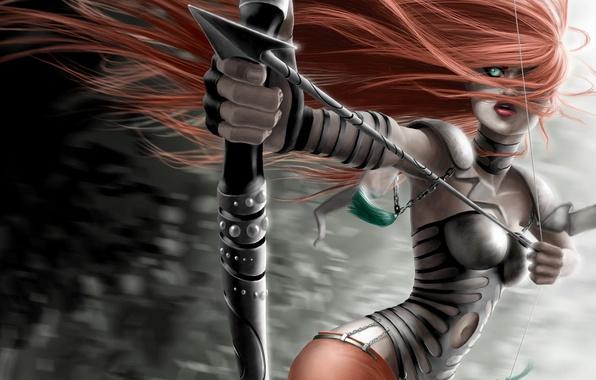 Картинка девушка, волосы, лук, стрела