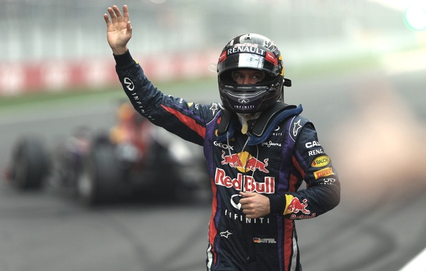Картинка Renault, болид, Победа, Formula 1, Red Bull, Vettel, Чемпион, India, 4-х кратный