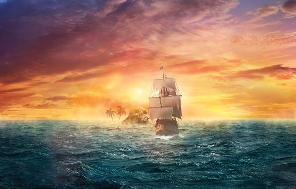 Картинка море, небо, закат, фантастика, океан, корабль, остров, парусник, фэнтези, арт, зарево, дымка, волнение
