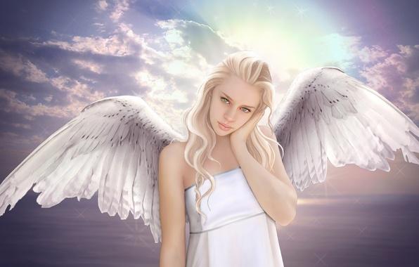 Картинка море, небо, взгляд, девушка, облака, фантастика, крылья, ангел, блондинка, зеленые глаза