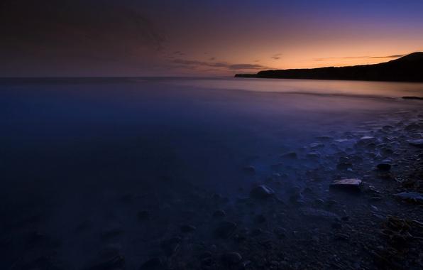 Картинка море, вода, закат, камни, берег, вечер