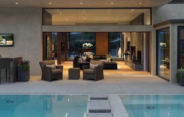 Картинка диван, бассейн, кресла, pool, столик, interior, home, картины.