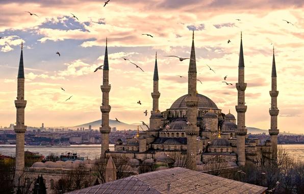 Картинка город, панорама, турция, Istanbul, мечеть султанахмет, turkey, стамбул