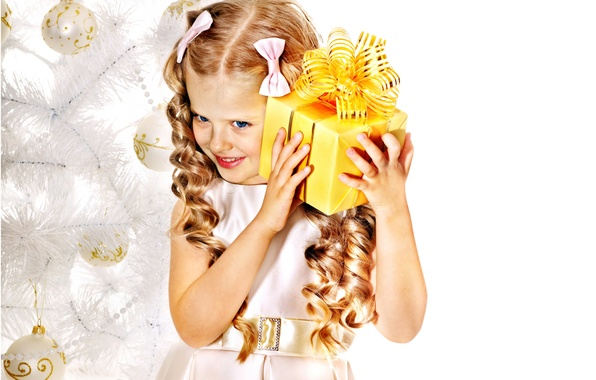 Картинка дети, улыбка, подарок, елка, ребенок, Новый Год, Рождество, девочка, бантики, Christmas, локоны, праздники, New Year