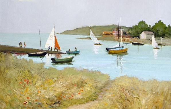 Картинка море, трава, пейзаж, цветы, люди, берег, картина, лодки, Марсель Диф, The Passage St. Armel