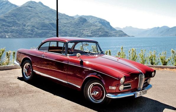 Картинка небо, вода, горы, красный, купе, BMW, БМВ, классика, Coupe, передок, 503, 1956