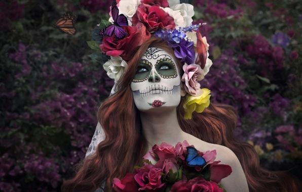 Картинка девушка, бабочки, цветы, лицо, раскрас, dia de los muertos, день мёртвых