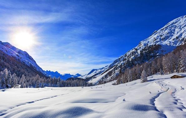Картинка зима, небо, облака, снег, пейзаж, природа, дом, скалы, гора, rock, house, white, sky, landscape, nature, …