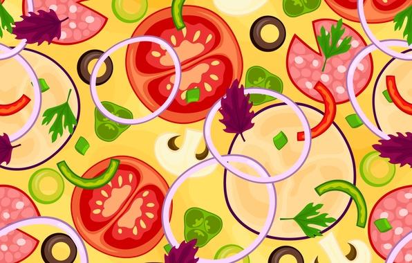 Картинка зелень, текстура, лук, овощи, помидоры, texture, tomatoes, vegetables, greens, onions