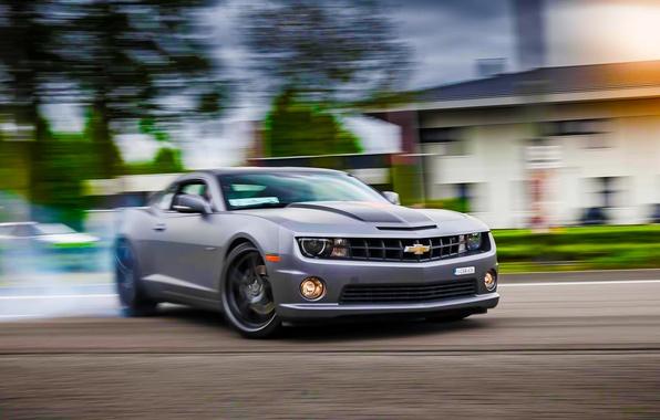 Картинка Chevrolet, Muscle, Camaro, Car, Sun, Skid, Drifting
