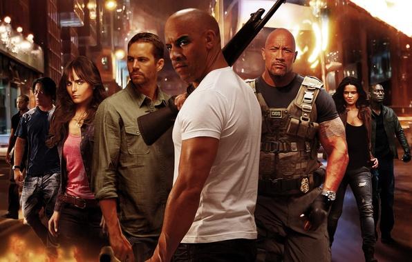 Фото обои Vin Diesel, Paul Walker, Дуэйн Джонсон, Dominic Toretto, Letty, Mia Toretto, Brian O'Conner, Luke Hobbs, ...