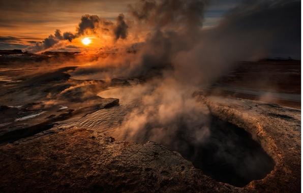 Картинка солнце, закат, озеро, дым, гора, вулкан, расщелина, пар, кратер, sky, smoke, nature, sunset, steam, water, …