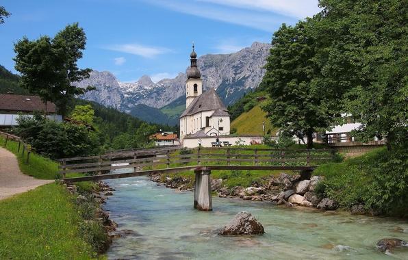 Картинка горы, мост, река, Германия, Бавария, Альпы, церковь, Germany, Bavaria, Alps, Рамзау, Ramsau, St Sebastian Church