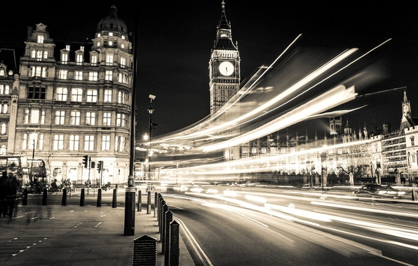 Картинка дорога, свет, машины, ночь, город, люди, улица, Англия, Лондон, здания, выдержка, освещение, Великобритания, Биг-Бен, черно-белое, …